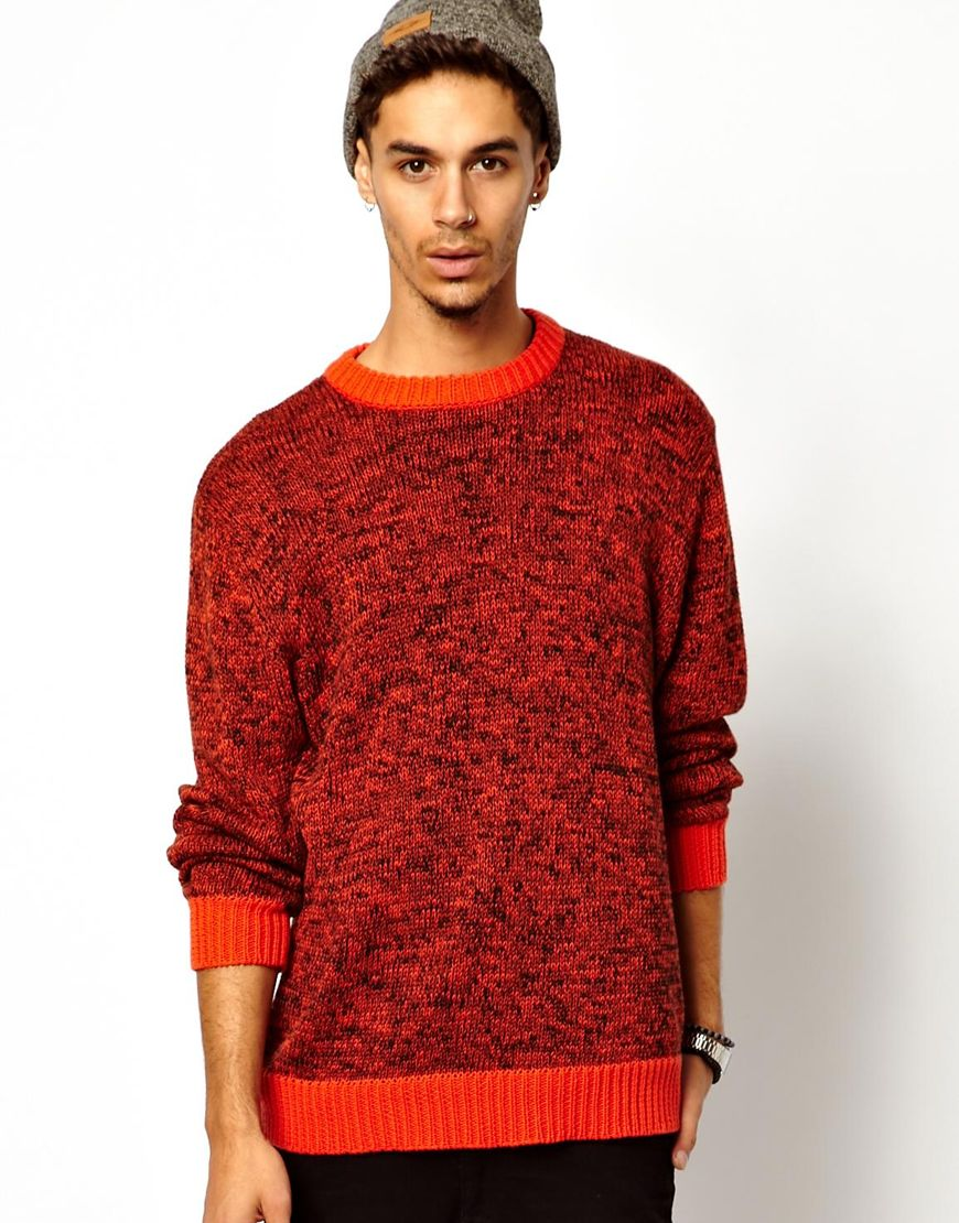 Cheap monday Jumper in Red Melange for Men | Lyst