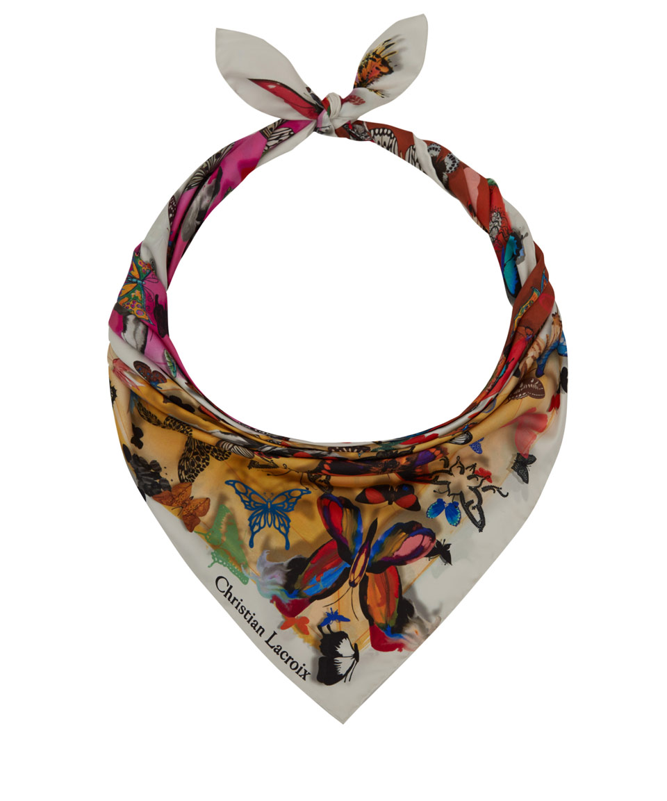 christian lacroix orange butterfly square print silk scarf