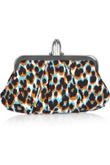 Christian Louboutin Mini Loubi Lula Animal-Print Silk Frame Clutch - Lyst
