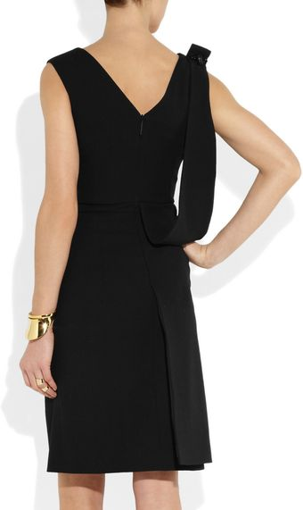 Christopher Kane Bolt Embellished Folded Wool Crepe Dress - Lyst
