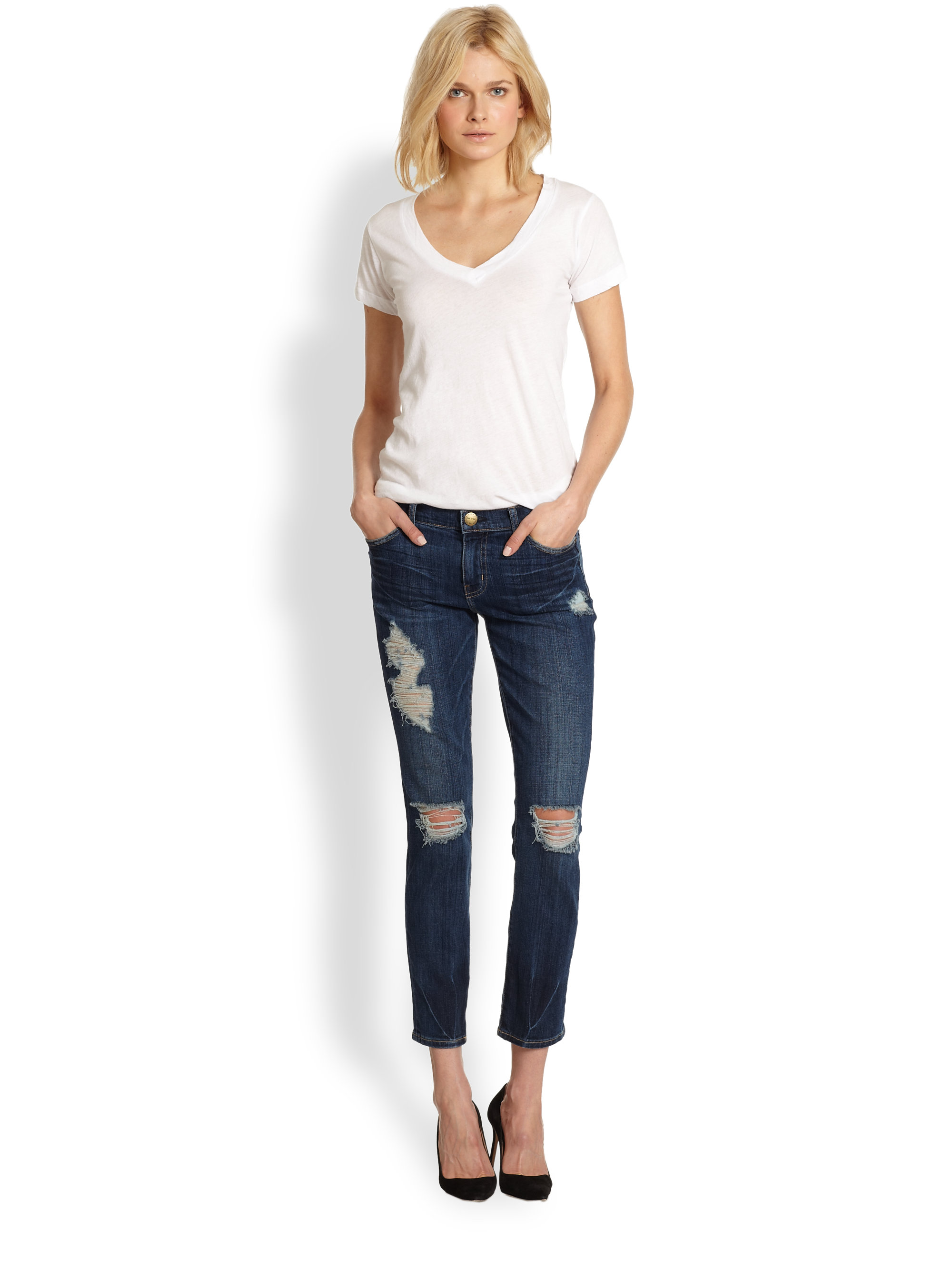 Current/elliott The Stiletto Distressed Cropped Skinny Jeans in ...