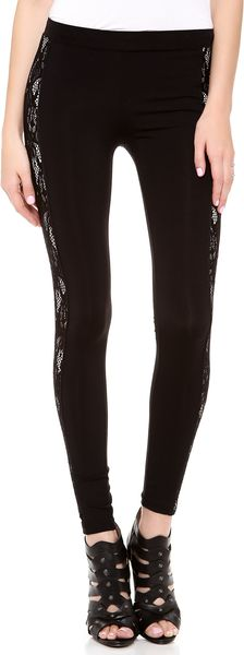 David Lerner Contrast Lace Leggings - Lyst