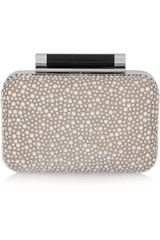 Diane Von Furstenberg Tonda Crystal Embellished Satin and Leather Clutch - Lyst