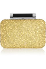 Diane Von Furstenberg Tonda Crystalembellished Satin and Leather Clutch - Lyst