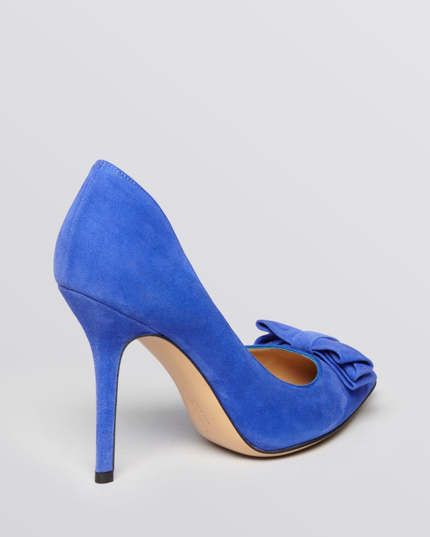 Lyst - Ferragamo Pointed Toe Pumps Runa Bow High Heel in Blue d1201f896