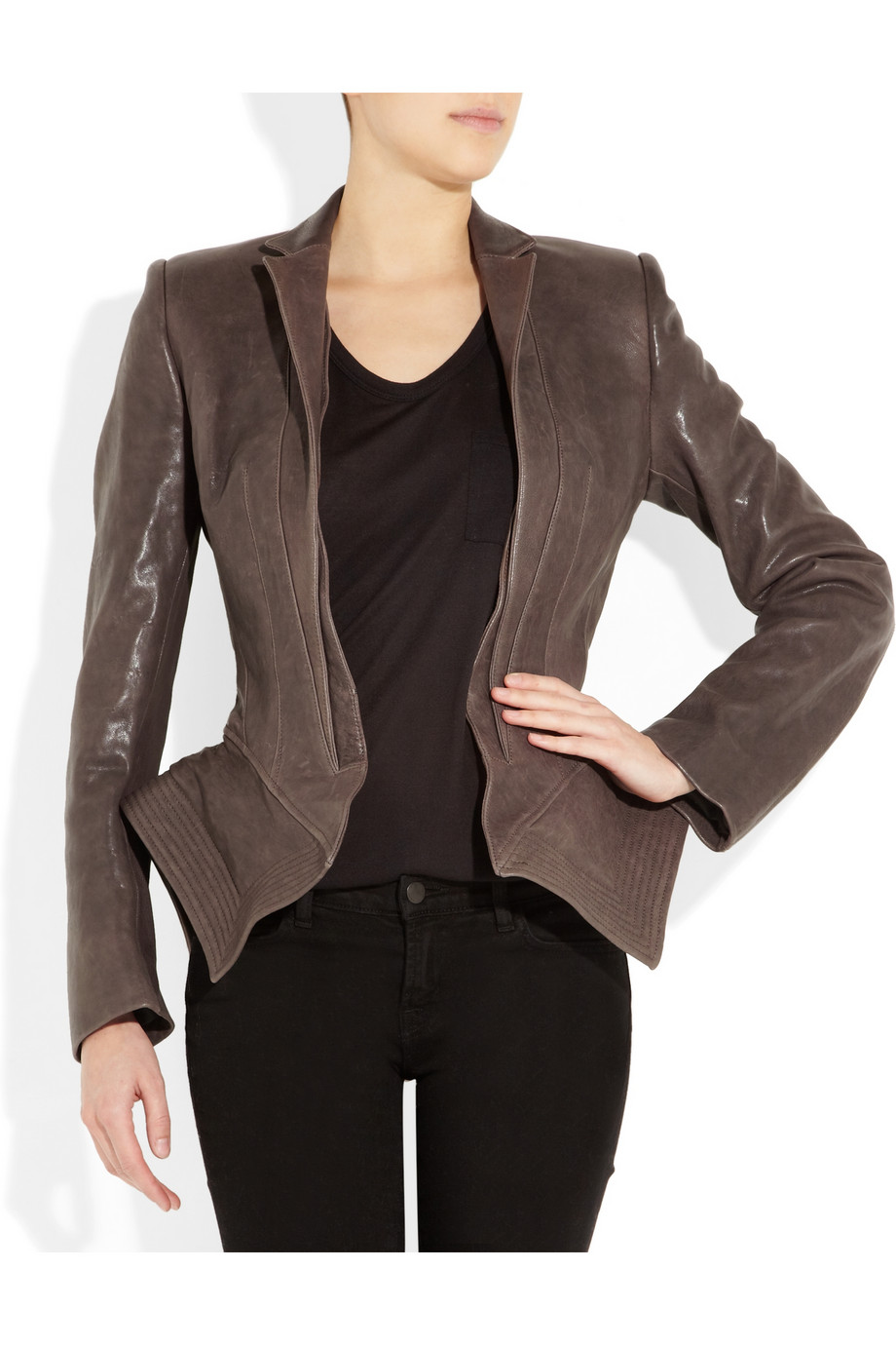 Lyst Haider Ackermann Leather Peplum Jacket In Brown
