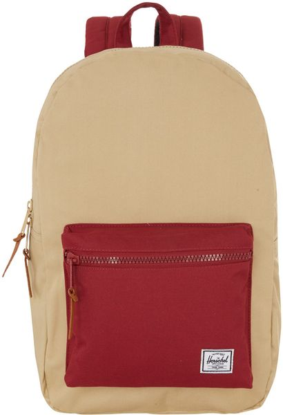 herschel supply co beige two tone settlement backpack in red for men beige lyst. Black Bedroom Furniture Sets. Home Design Ideas