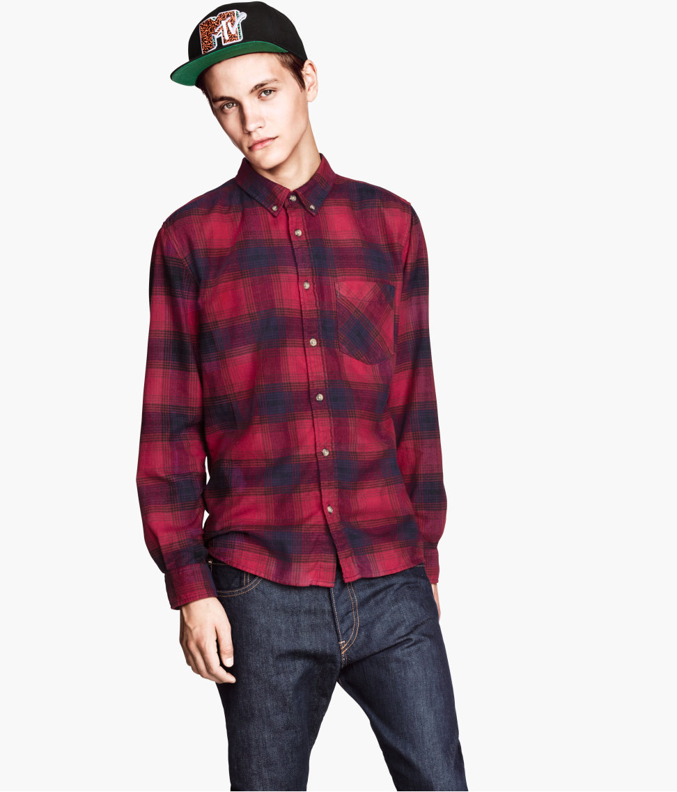 Lyst h m flannel shirt in red for men for How to wear men s flannel shirts