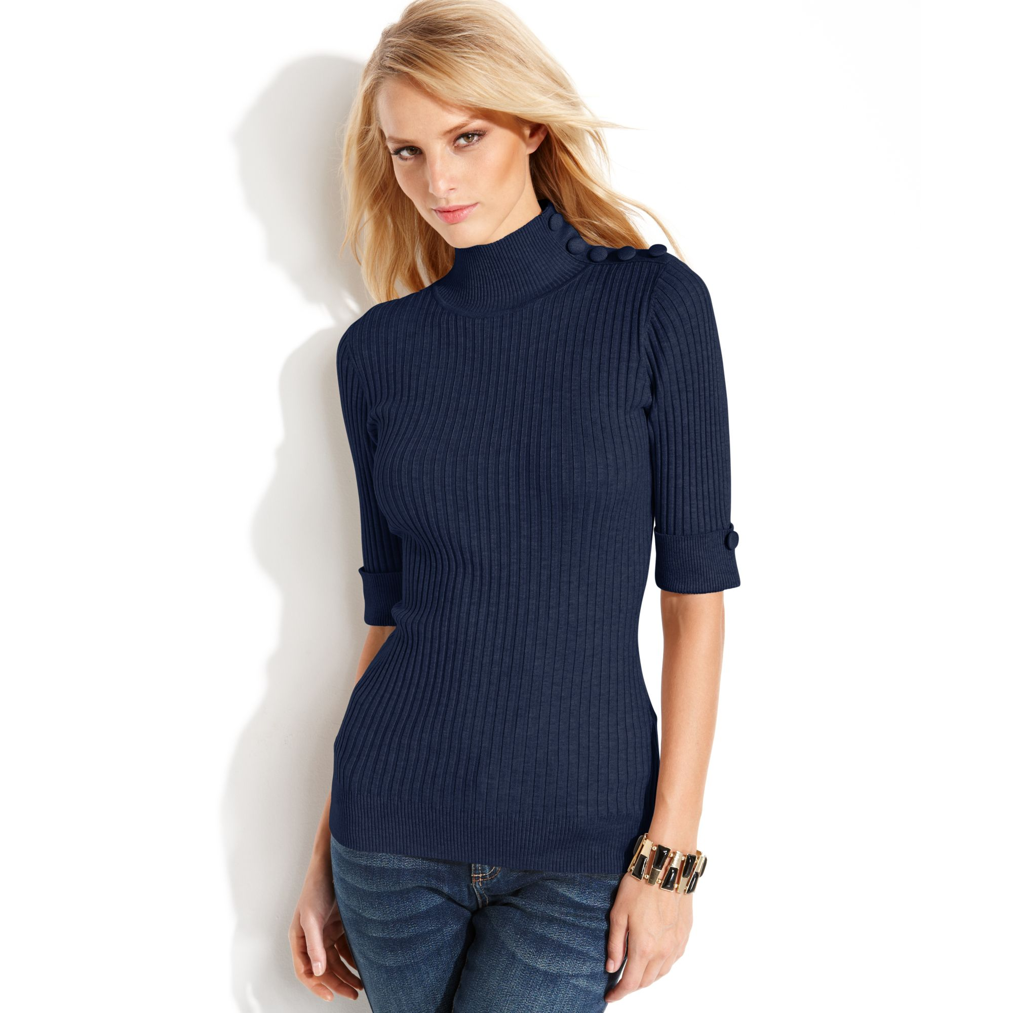 Inc international concepts Buttoned Ribbed Knit Turtleneck Sweater ...