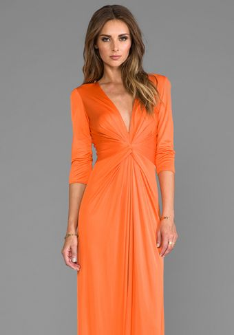 Issa Deep Vneck Silk Jersey Maxi Dress in Orange - Lyst
