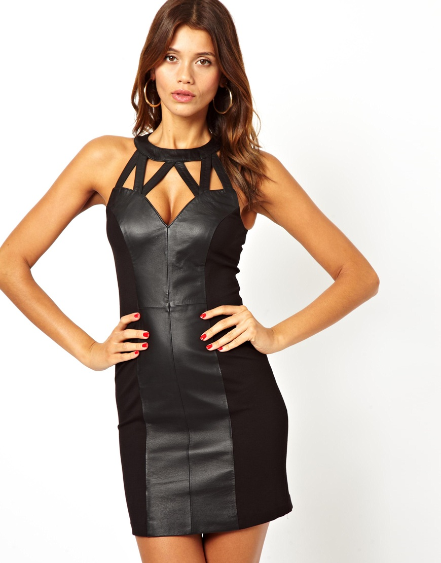 Cheap leather mini dress