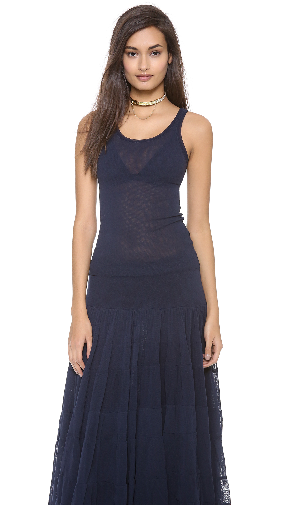 jean paul gaultier mesh tank in blue navy lyst. Black Bedroom Furniture Sets. Home Design Ideas
