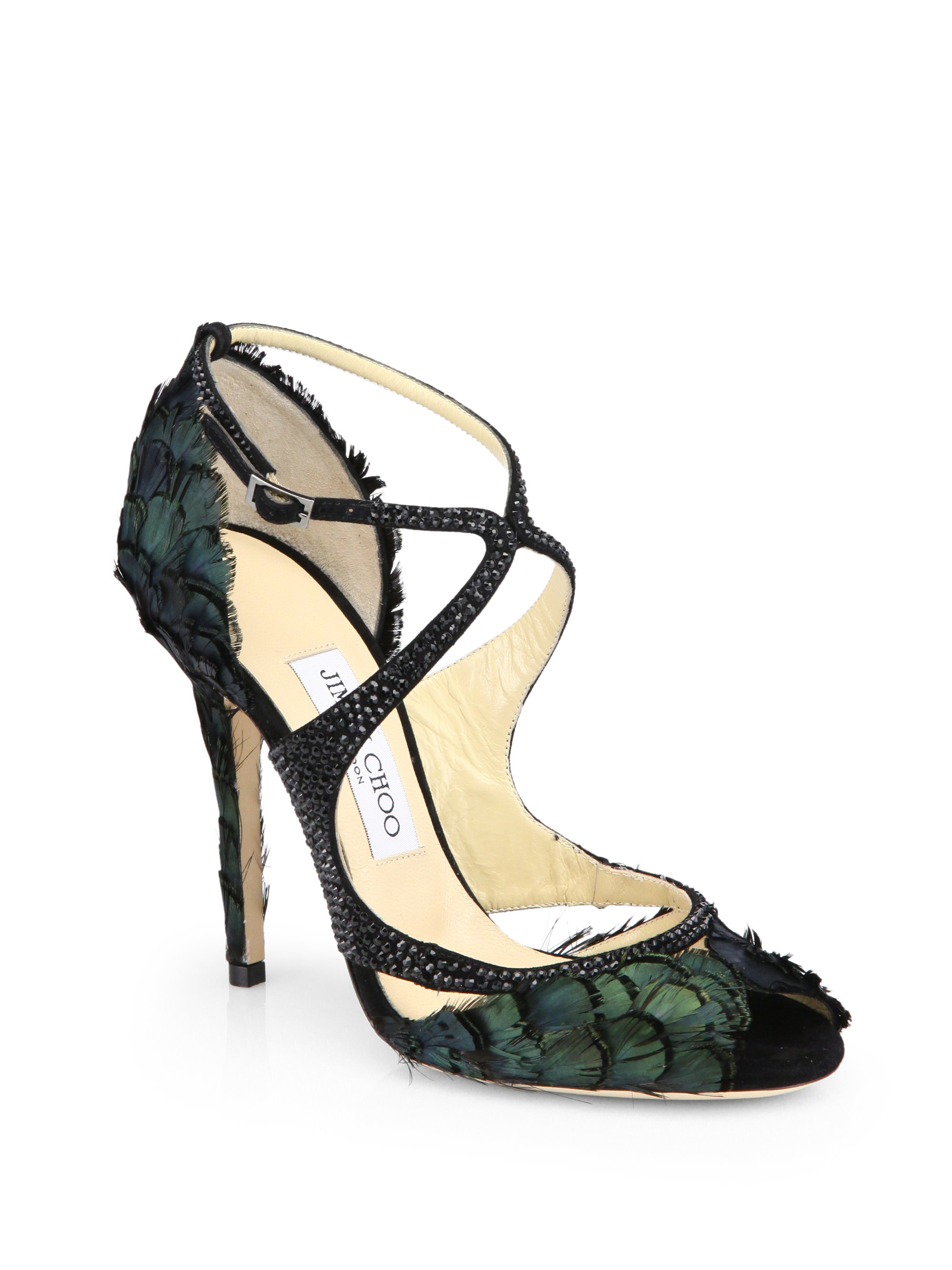 c057985cba37 ... coupon code for lyst jimmy choo kamelia shimmer feather sandals in  green 36eb5 46c25