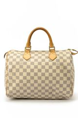 Louis Vuitton Preowned White Damier Azur Canvas Speedy 30 Bag - Lyst