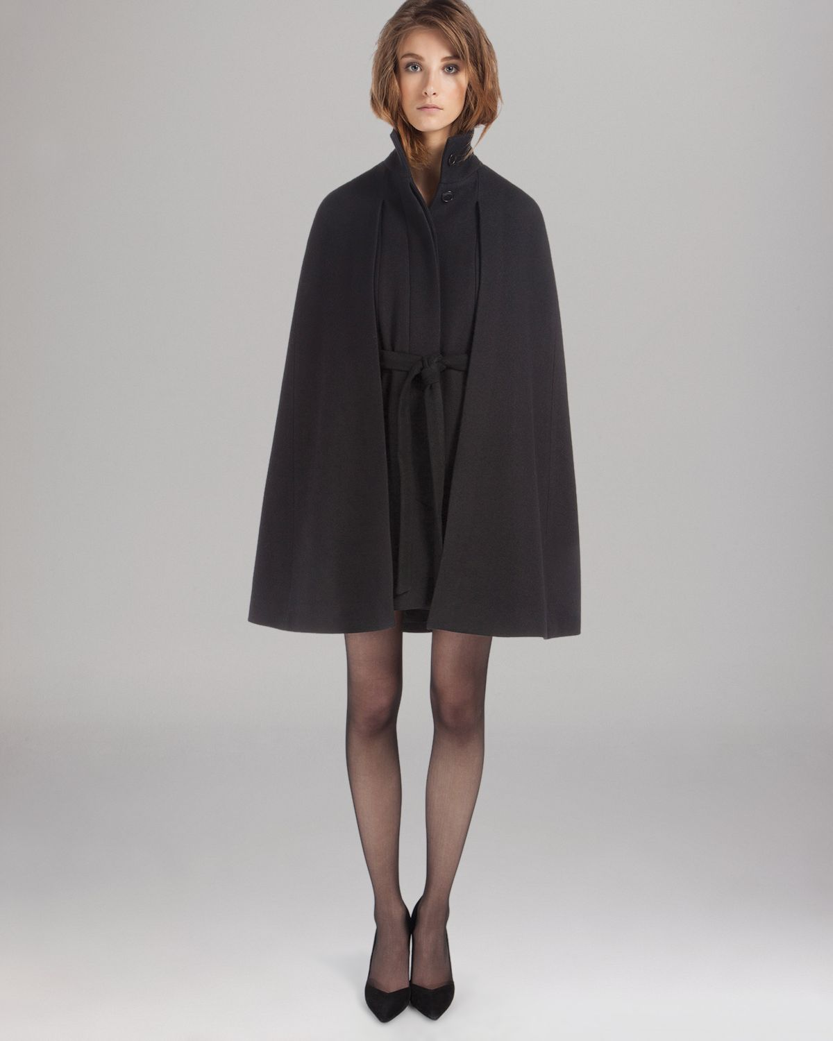 Maje Cape Coat in Black | Lyst