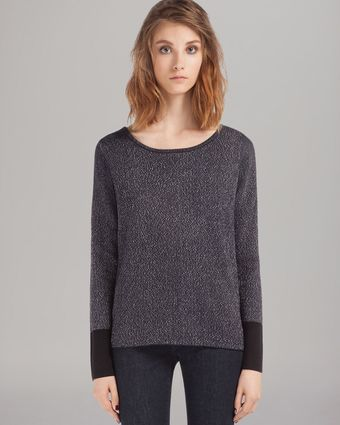 Maje Crewneck Zip Shoulder Sweater - Lyst