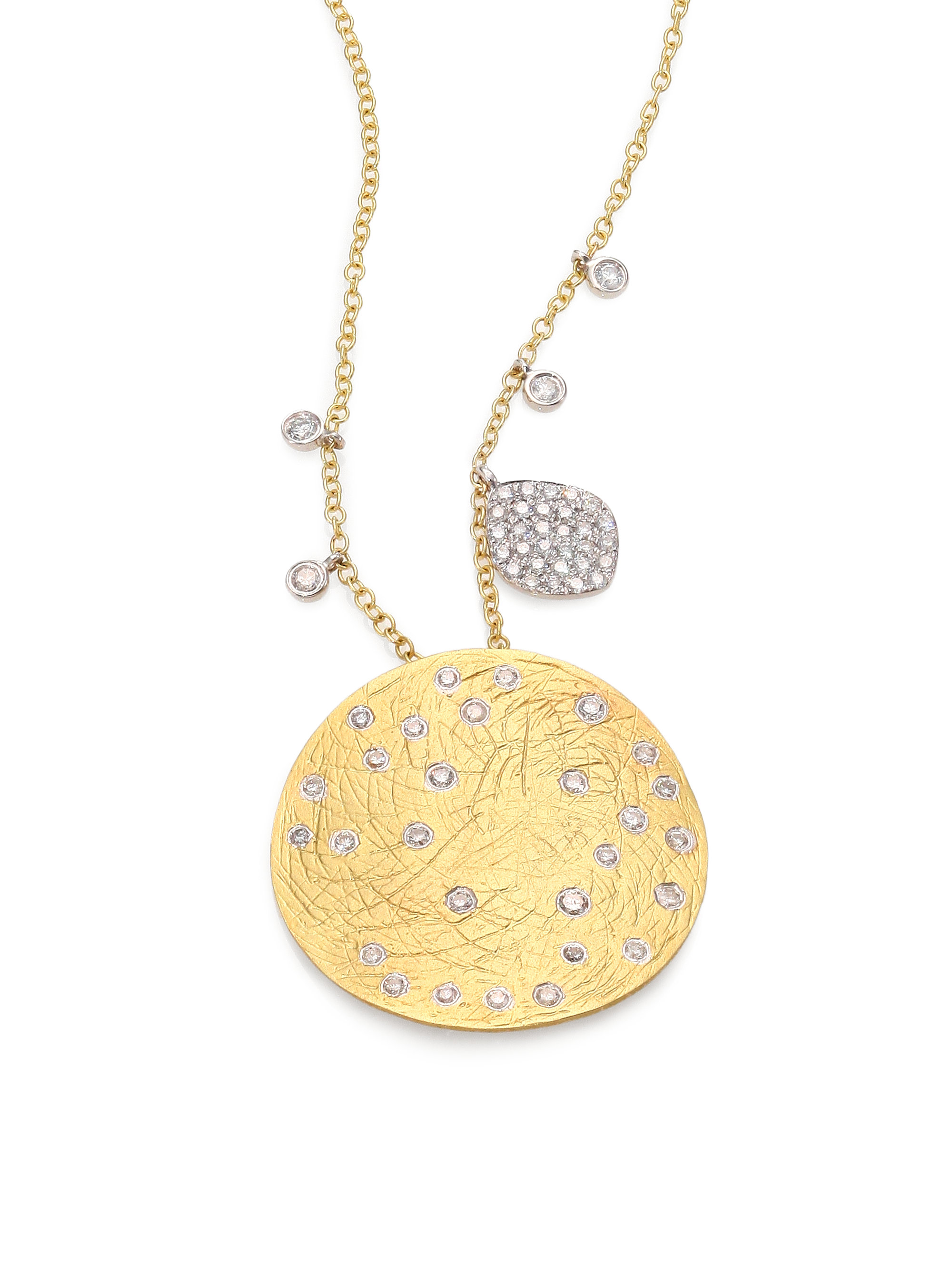 meira t 14k yellow white gold disc pendant