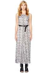 Michael by Michael Kors Snakeprint Pleated Dress - Lyst