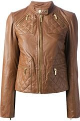 Michael by Michael Kors Slim Fit Leather Jacket - Lyst
