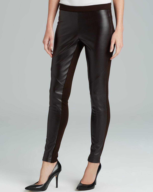 ffbf2228310661 Michael michael kors Faux Leather Front Leggings in Black | Lyst