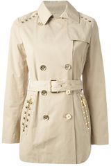 Michael by Michael Kors Studded Short Trench Coat - Lyst