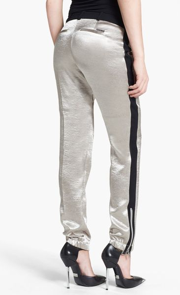 Michael Michael Kors Shiny Track Pants In Silver Lyst