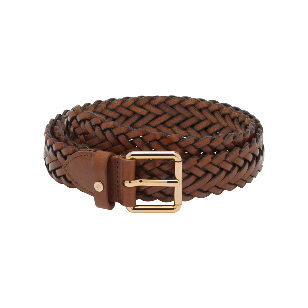 mulberry braided belt in brown lyst