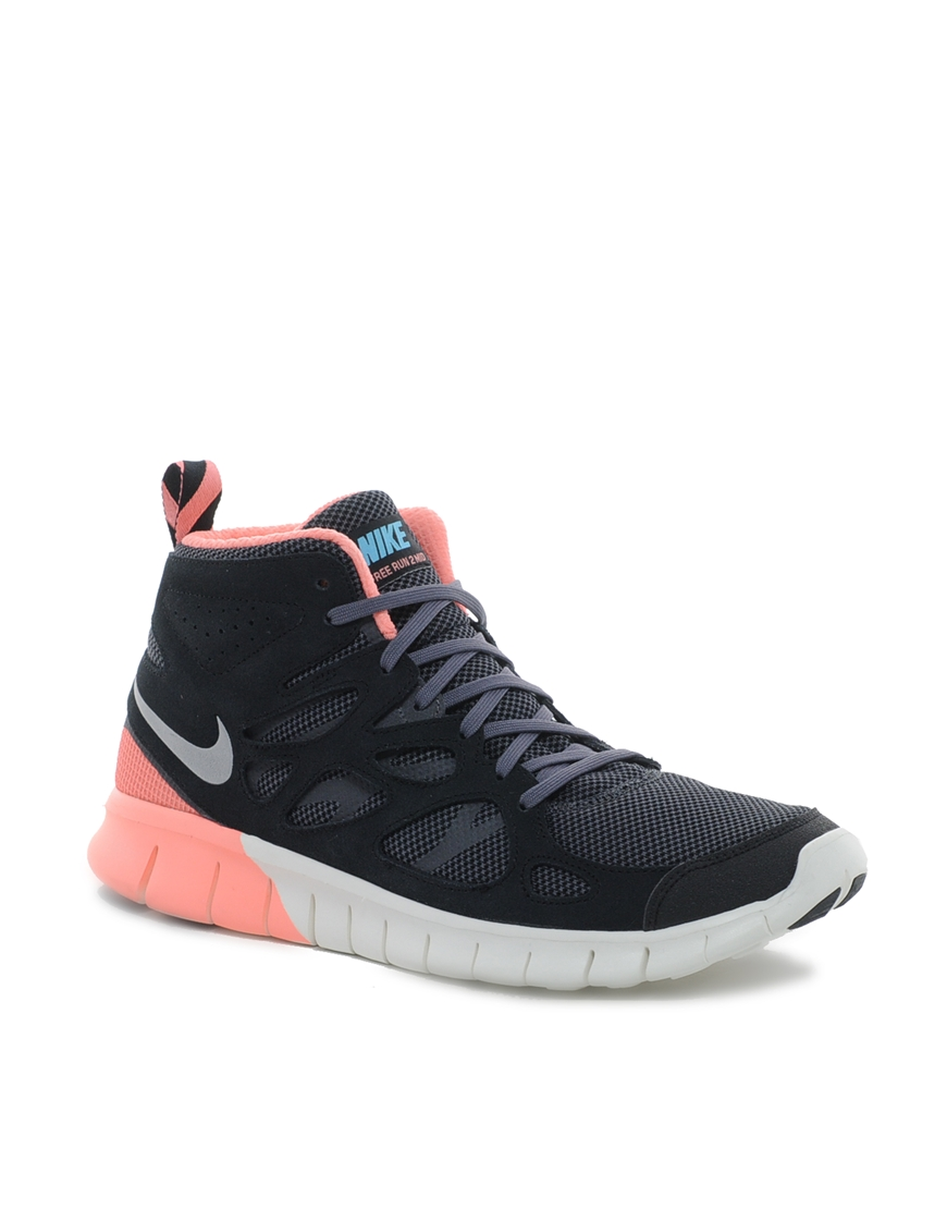 nike free run 2 mid trainers in black lyst. Black Bedroom Furniture Sets. Home Design Ideas