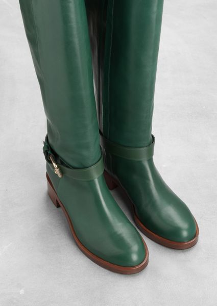 Amp Other Stories Leather Knee Boots In Green Green Bluish