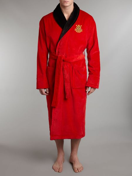 polo ralph lauren polo logo robe in red for men. Black Bedroom Furniture Sets. Home Design Ideas