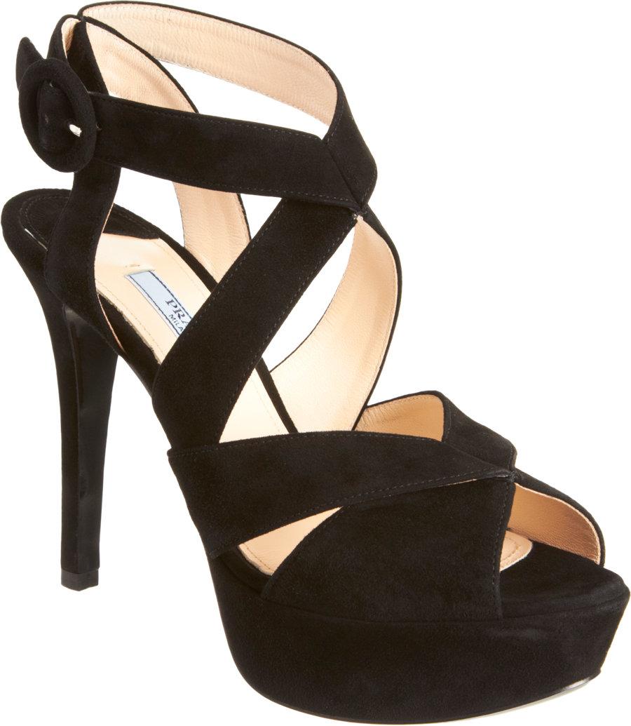 Lyst Prada Criss Cross Effect Platform Sandal In Black