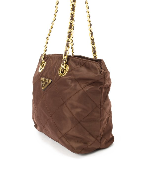 Prada Preowned Brown Quilted Nylon Double Chain Shoulder Bag in ...