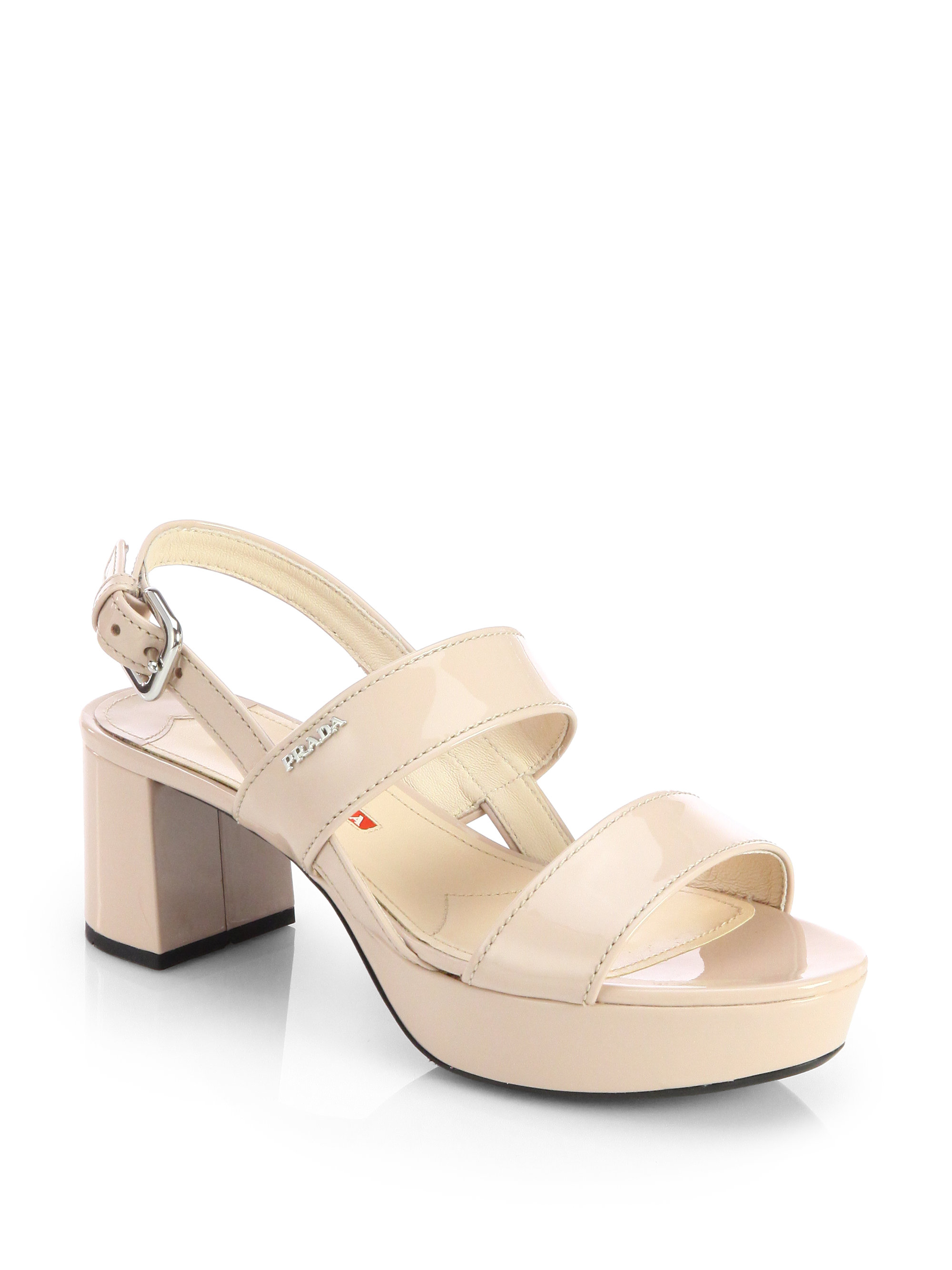 Prada Patent Leather Block Heel Sandals In Beige Cipria