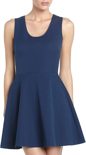 Robert Rodriguez Leather back Flare Dress Cadet - Lyst