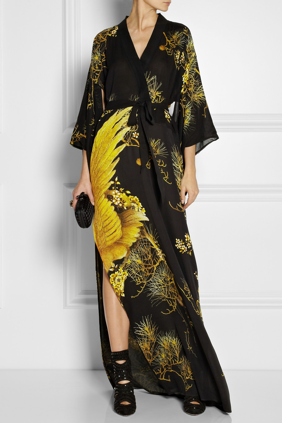 Lyst Roberto Cavalli Chimera Printed Silk Crepe De Chine