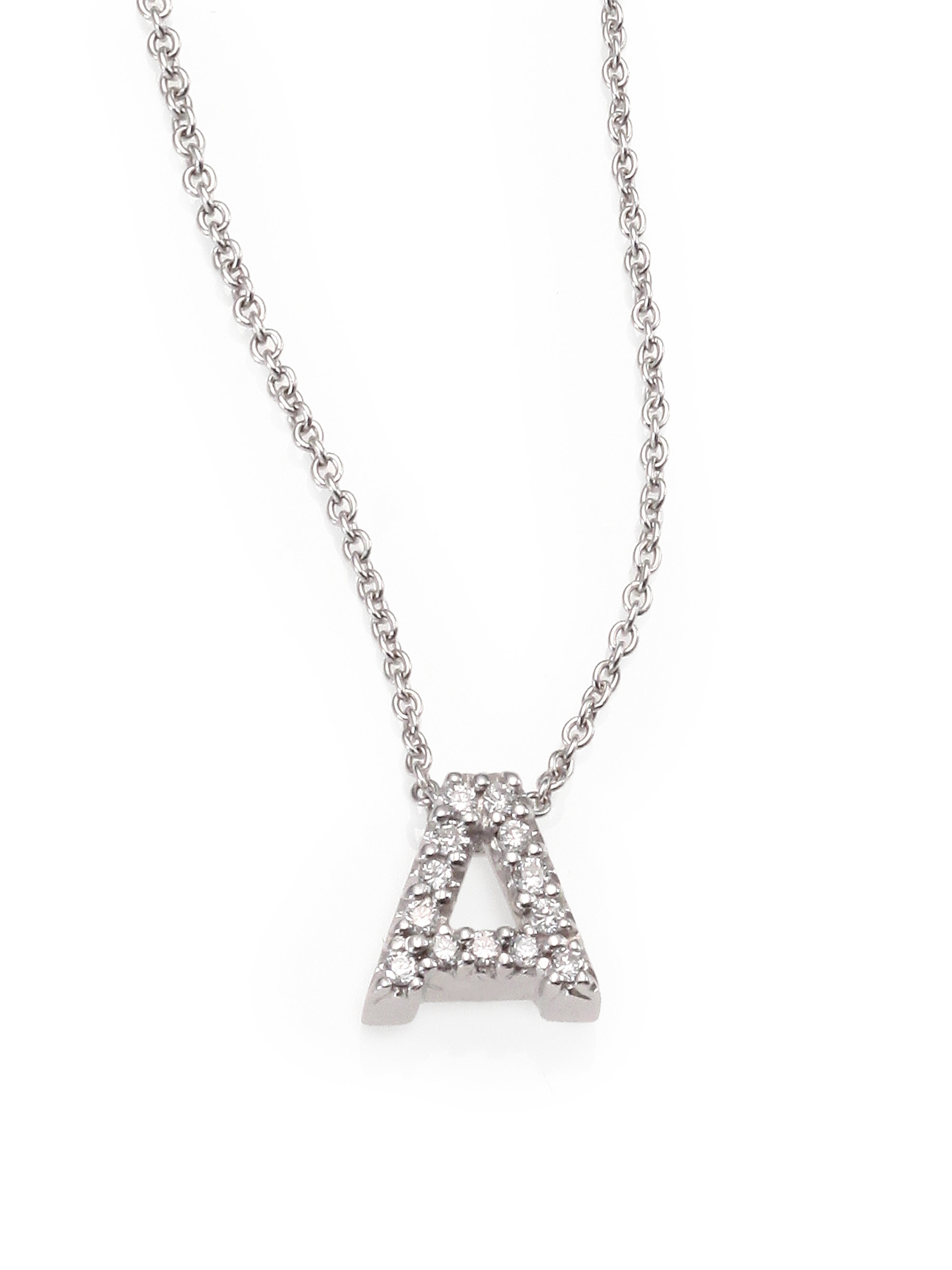 Lyst roberto coin diamond 18k white gold a initial necklace in gallery previously sold at saks fifth avenue womens initial necklaces mozeypictures Image collections
