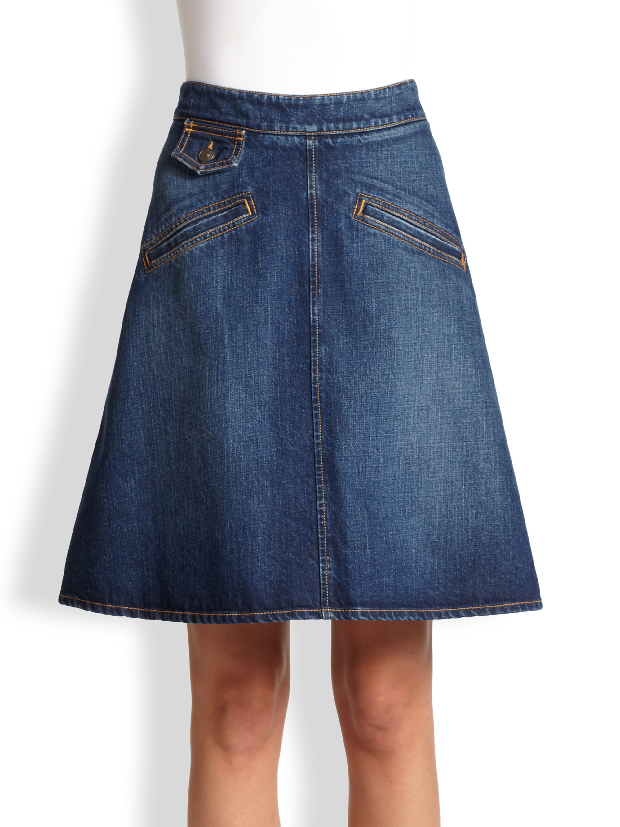 See by chloé Denim Aline Skirt in Blue | Lyst