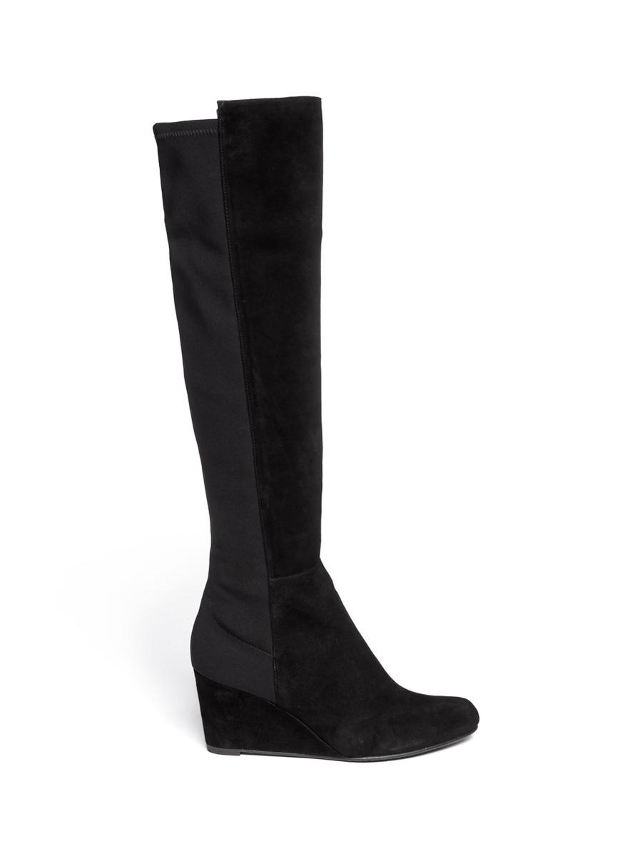 stuart weitzman elasticback suede wedge boots in