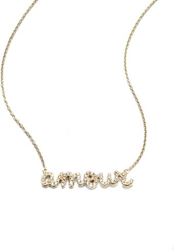Sydney Evan Pave Diamond Amour Pendant Necklace14k Yellow Gold - Lyst