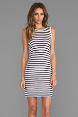 T By Alexander Wang Stripe Linen Tank Dress in Navy - Lyst