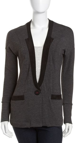 Three Dots Fauxsuede Trim Cardigan Charcoal - Lyst