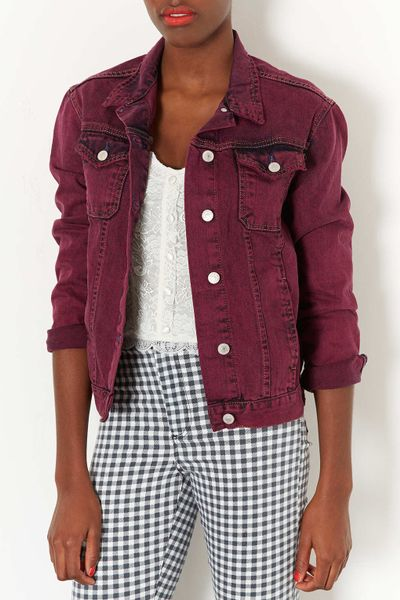 Topshop Moto Red Denim Jacket In Red Berry Red Lyst