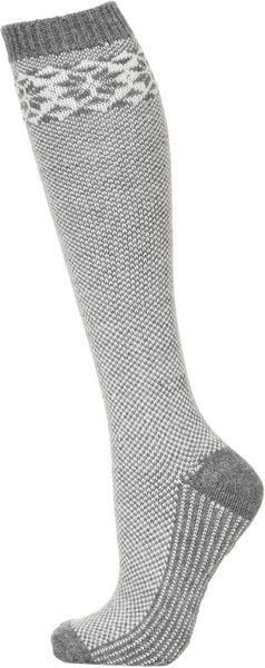 Topshop Long Snowflake Slipper Socks In Gray (GREY MARL) | Lyst