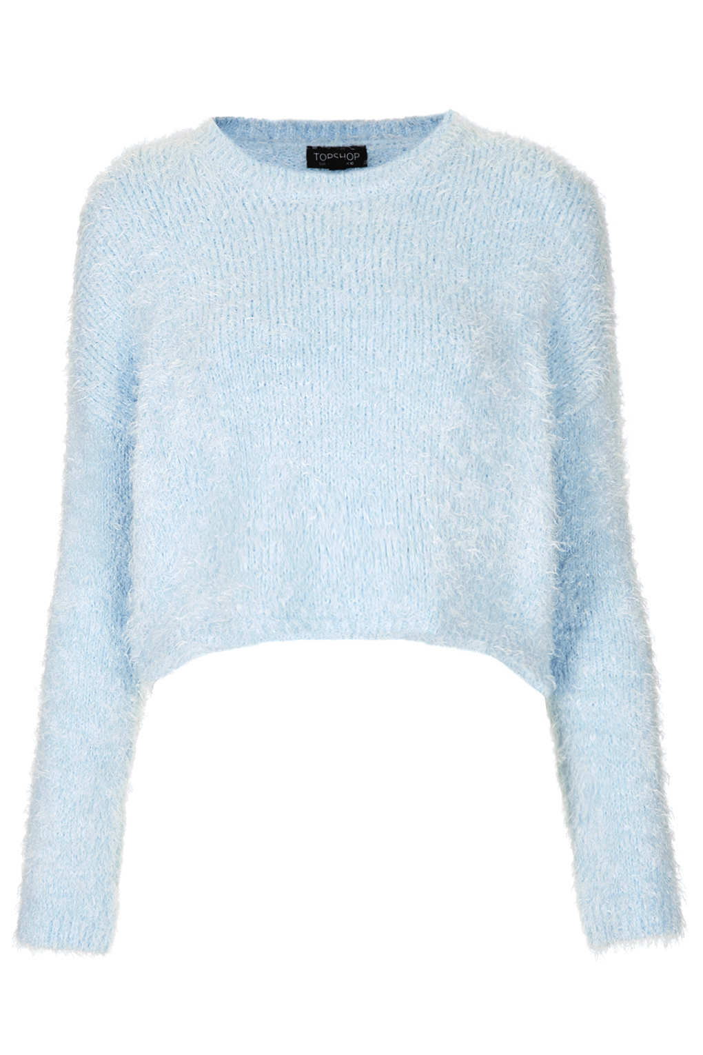 Knitting Pattern Cropped Jumper : Topshop Knitted Fluffy Crop Jumper in Blue Lyst