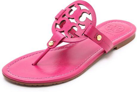 Tory Burch Miller Logo Sandals In Pink Dark Fuschsia Lyst
