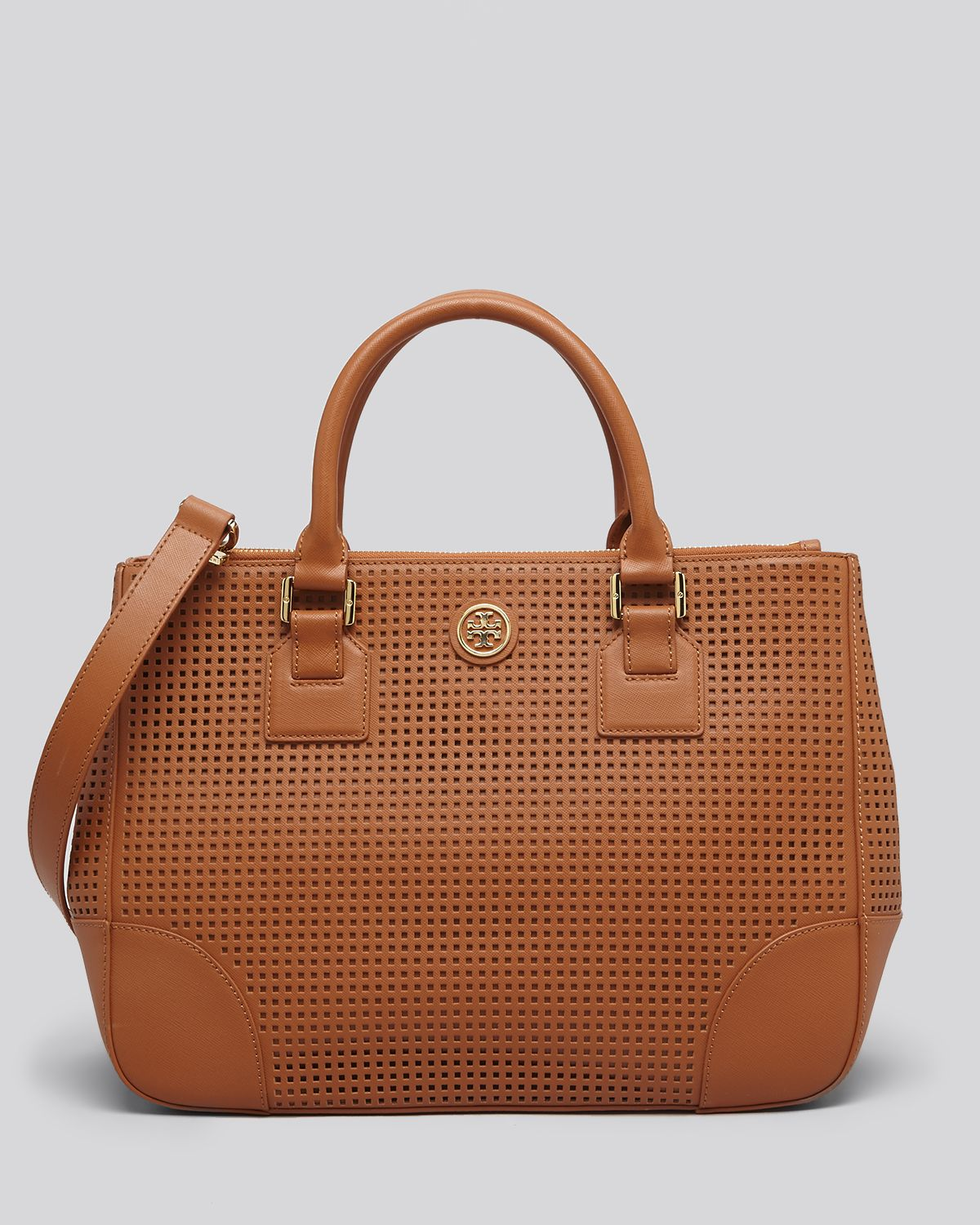 e945d58d98f6 Lyst - Tory Burch Tote Robinson Perforated Double Zip in Brown