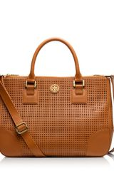 Tory Burch Robinson Perforated Double Zip Tote - Lyst