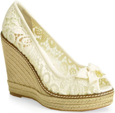 burch jackie 110m crochet espadrille wedge in white