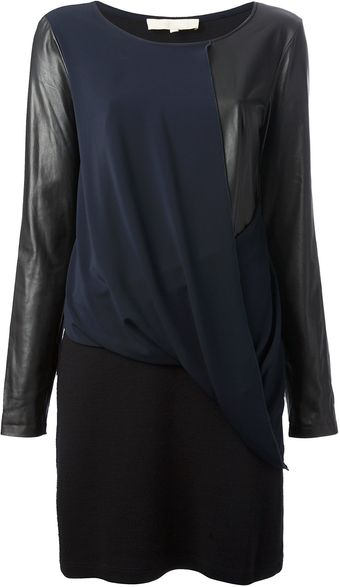 Vanessa Bruno Leather Panel Dress - Lyst