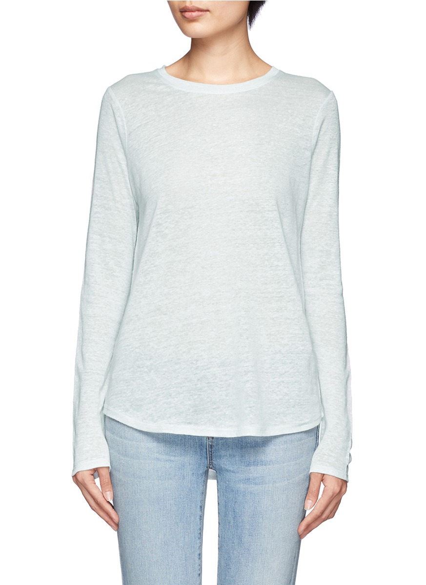 Lyst vince crew neck long sleeve t shirt in blue for Vince tee shirts sale
